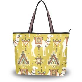 SoreSore(ソレソレ)トートバッグ 大容量 レディース メンズ アルパカ イエロー 黄色 民族風 可愛い かわいい バッグ ハンドバッグ ファスナー 大きめ 通学 旅行 帆布 プレゼント