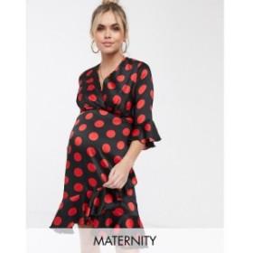 ブルーム Blume Maternity レディース ワンピース ラップドレス ワンピース・ドレス wrap front tea dress in spot print