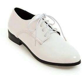 [ブウケ] レディース オックスフォードシューズ カジュアルシューズ レースアップシューズ 22.5cm 痛くない 疲れない 歩きやすい 柔らかい マニッシュ ホワイト シューズ 編み上げ ゴム紐 おじ靴 パンプス 赤 黒 スムース調 女性用 靴