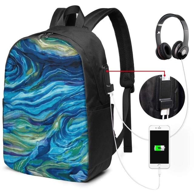 北アメリカの野生動物の抽象的な海 リュック バックパックリュックサック USB充電ポート付き イヤホン穴付き 大容量 PCバッグ レジャーバッグ 旅行カバン 登山リュック ビジネスリュック ユニセックス おしゃれ 人気
