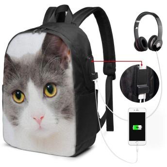 バックパック リュックサック かわいい猫 Usb充電ポート付き 17インチ ノートパソコンバックパック 軽量 超大容量 多機能 耐衝撃 ビジネス カジュアル リュック 通勤 通学 旅行 アウトドア メンズ レディース