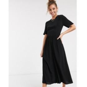 エイソス ASOS DESIGN レディース オールインワン ジャンプスーツ ワンピース・ドレス tea jumpsuit with button back detail ブラック