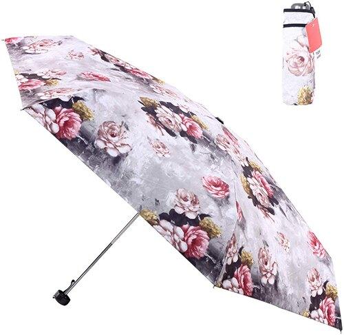 FJMOD 【日本代購】彩繪陽傘 折疊雨傘 防紫外線99% UPF50+ 迷你五段折疊-山茶花