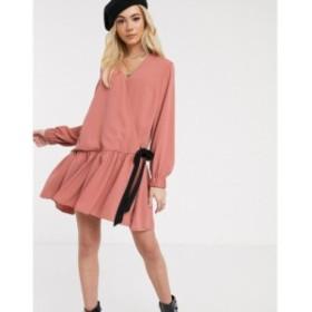 エイソス ASOS DESIGN レディース ワンピース ラップドレス ミニ丈 ワンピース・ドレス wrap tie side smock mini dress with pephem ラ