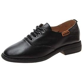 [ヤク] オックスフォードシューズ レディース レースアップ ローカット おじ靴 23.0cm 厚底 マニッシュ ローファー ブーツ ショートブーツ 靴 ラウンドトゥ 美脚 柔らかい ブロッケンシューズ カジュアルシューズ ブラック