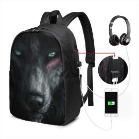 オオカミ リュック バックパックリュックサック USB充電ポート付き イヤホン穴付き 大容量 PCバッグ レジャーバッグ 旅行カバン 登山リュック ビジネスリュック ユニセックス おしゃれ 人気