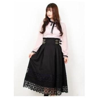 ロジータ ROJITA 2段レース切替ロングスカート (ブラック)