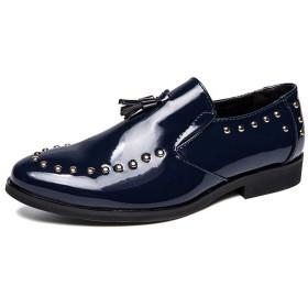 [シューズ メンズ LULI] LULIJP メンズフェイクパテントレザーオックスフォードシューズ手作りのタッセルローファースリップオンドレスシューズドレスシューズ 革靴 (Color : 海軍, サイズ : 24 CM)