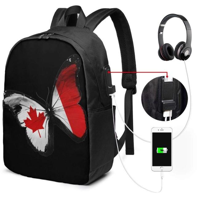 カナダの旗蝶 リュック バックパックリュックサック USB充電ポート付き イヤホン穴付き 大容量 PCバッグ レジャーバッグ 旅行カバン 登山リュック ビジネスリュック ユニセックス おしゃれ 人気