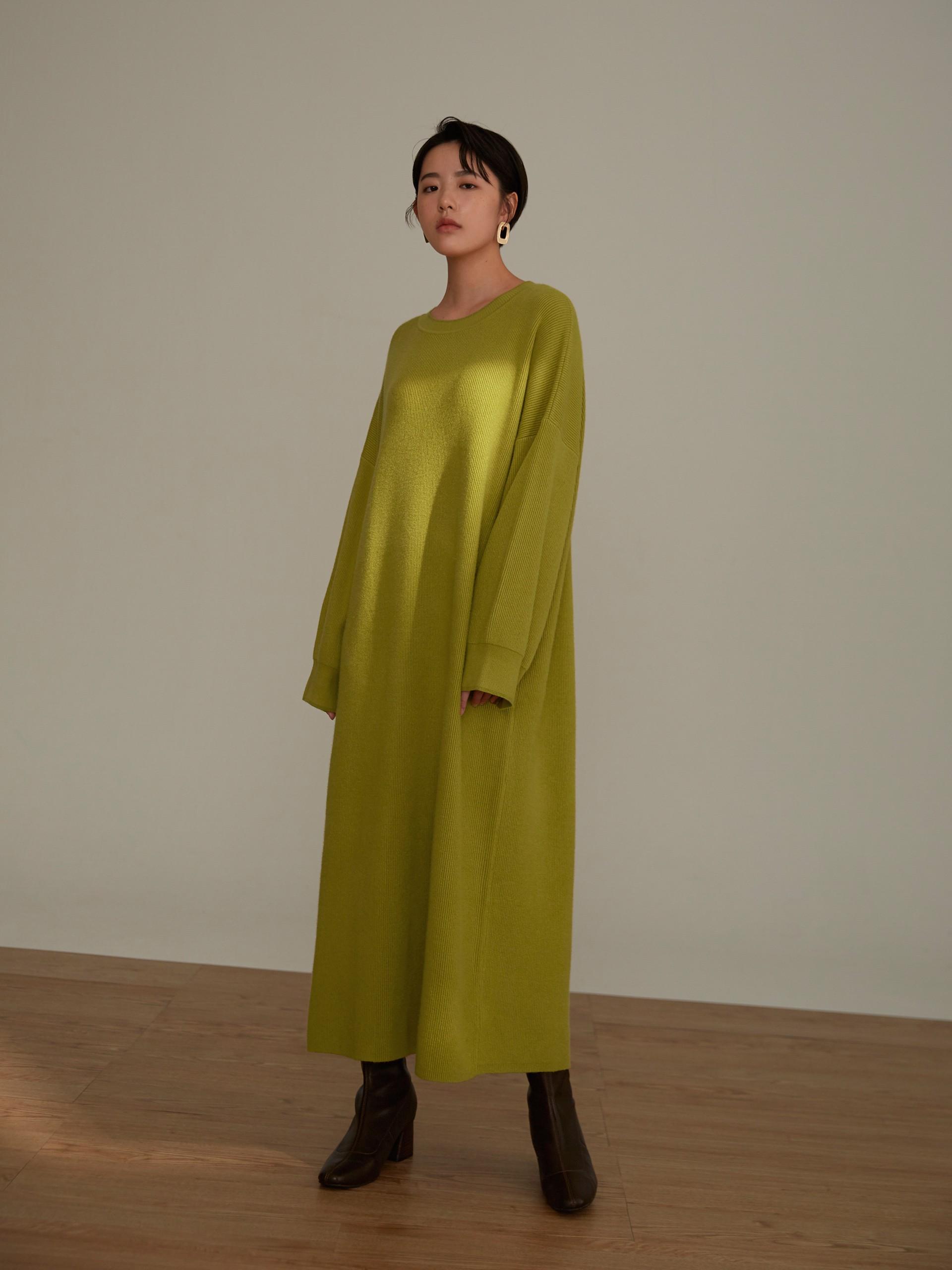 配色織紋長版毛衣-mouggan