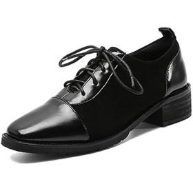 [ブウケ] マニッシュ カジュアル レースアップ オックスフォードシューズ レディース 22.0cm スムース調 チャンキーヒール おじ靴 歩きやすい ドレスシューズ レースアップシューズ 大きいサイズ 小さいサイズ ブラック マニッシュシューズ 黒