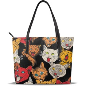 バッグ トートバッグ 猫柄 パターン 手提げバッグ ショルダーバッグ PUレザー ハンドバッグ レディース 大容量 防水 A4対応 軽量 ビジネス 通勤 通学 誕生日プレゼント