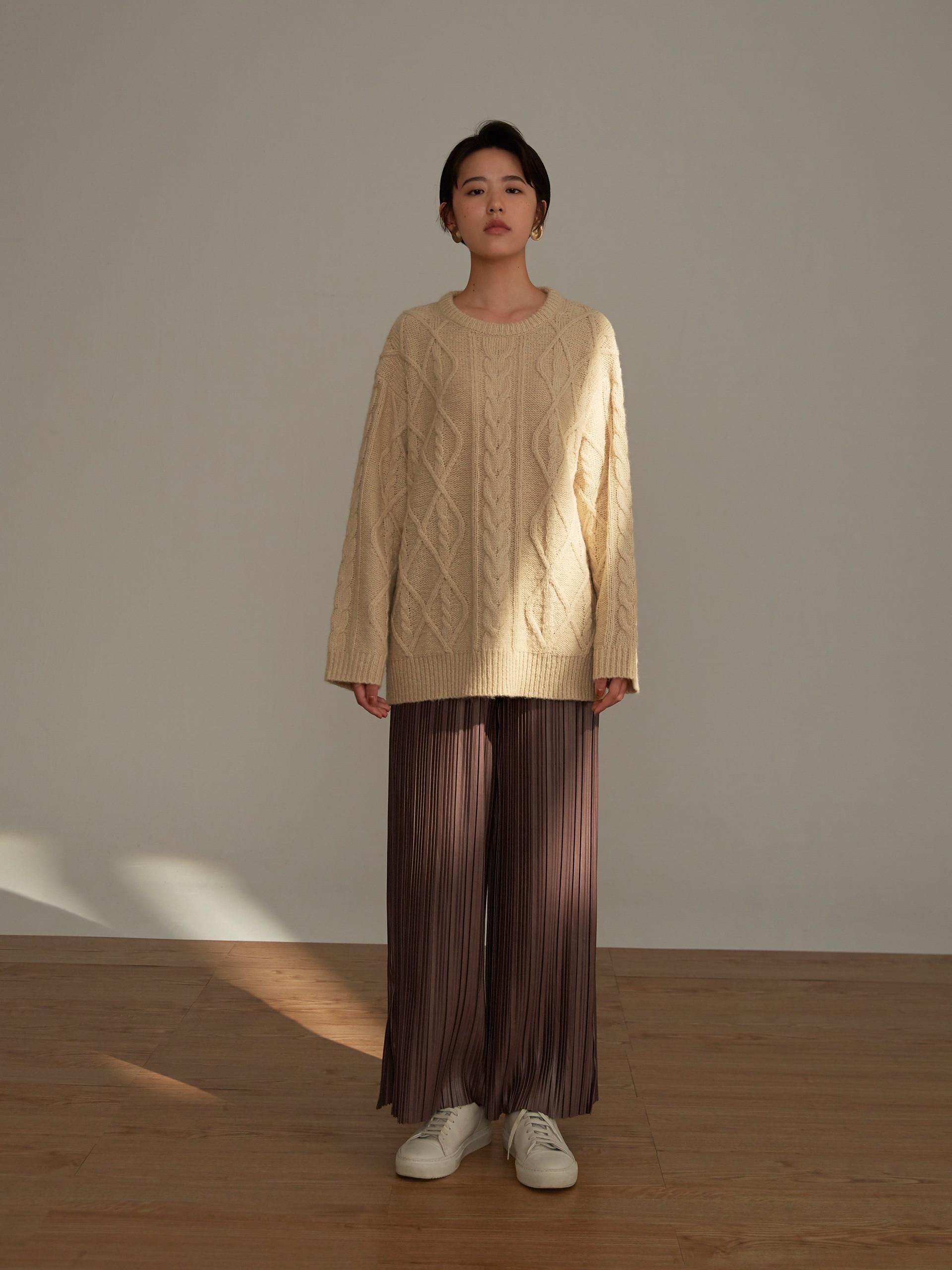 麻花織紋質感毛衣-mouggan