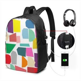 カラーブロック リュック バックパックリュックサック USB充電ポート付き イヤホン穴付き 大容量 PCバッグ レジャーバッグ 旅行カバン 登山リュック ビジネスリュック ユニセックス おしゃれ 人気