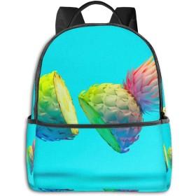 ファッションミニ旅行バックパック、10代の少年少女女性男性のためのかわいい学校のショルダースクールバッグ-ミニマリズムファッションパイナップル