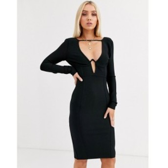 ブーフー Boohoo レディース ボディコンドレス ミドル丈 ワンピース・ドレス bandage bodycon midi dress in black ブラック