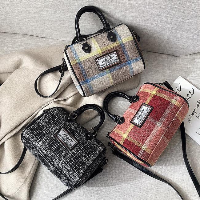 FOFU-手提包英倫學院風格紋手提包側背包【08G-T0325】