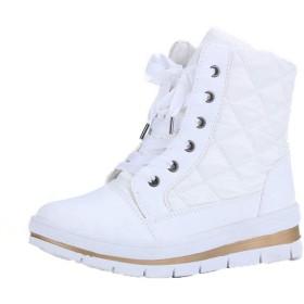 [ムリョシューズ] レディース スノーブーツ ショートブーツ 防水設計 ゆったり幅広 ふかふか ボア あったか 軽量 軽い ホワイト 滑らないスノーシューズ おしゃれ 防寒 23.5cm 防滑 あったか アウトドア 雪遊び 雪靴 キャンプ フェス