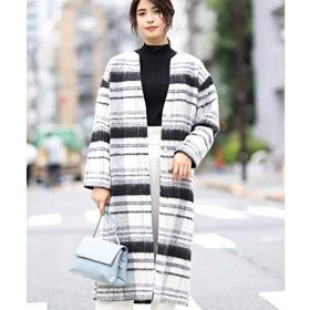 アー・ヴェ・ヴェ(a.v.v) シャギーモノトーンチェック キーネックコート【ブラック/M】