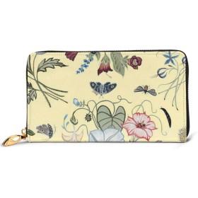 長財布 財布 レディース 大容量 本革 花と蝶 ラウンドファスナー 小銭入れ コインケース カード12枚収納
