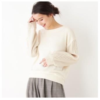 【ピンクアドベ/pink adobe】 袖ケーブル編みプルオーバー