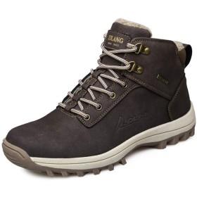 [dhiuebc] ブーツ 29.0cm メンズ 靴 冬用 ダークブラウン(裏起毛) ショートブーツ ワークブーツ 黒 レインシューズ カジュアル ブーツ 滑り止め ハイカットブーツ 厚底 マーティンブーツ マウンテンブーツ スニーカー レイン シューズ 男性用