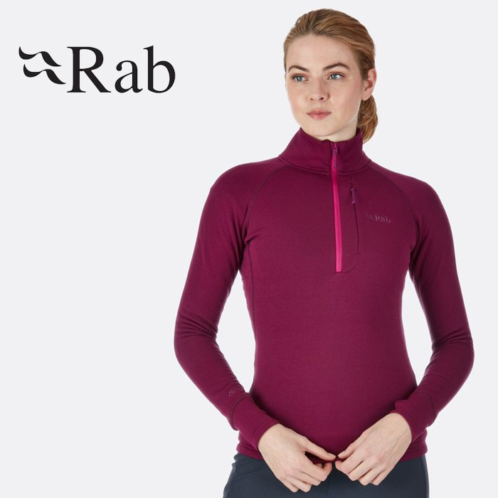【Rab 英國】POWER STRETCH 保暖排汗衣 中層衣 保暖衣 PS衣 機能衣 女款 醬果紫 (QFE-63)
