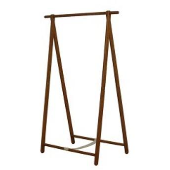 天然木 シングルハンガーラック/コートハンガー 〔ブラウン〕 幅101cm 折りたたみ可 木目調