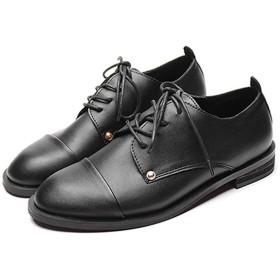 [ブウケ] 紐靴 レディース オックスフォードシューズ ブラック レースアップ ドレスシューズ 2.5cmヒール カジュアルシューズ レースアップシューズ おじ靴 太ヒール 痛くない 歩きやすい 大きいサイズ パンプス 23.0cm マニッシュシューズ