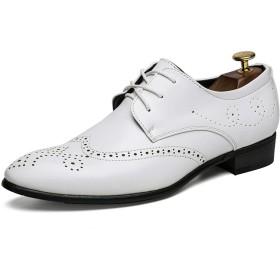 [シューズ メンズ LULI] LULIJP メンズレザーオックスフォードブローグシューズ穴あきレースアップドレスシューズレースアップ 革靴 (Color : 白, サイズ : 24 CM)
