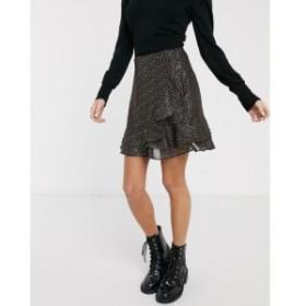 オアシス Oasis レディース ミニスカート スカート skirt with metallic spot detail in black マルチブラック