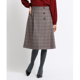 SunaUna(スーナウーナ) 【洗える】ツイルチェックラップ風スカート