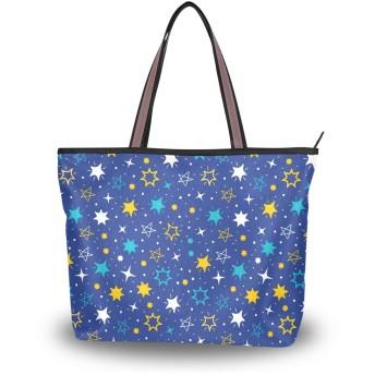 カラー 星柄 トートバッグ ハンドバッグ 手提げ かわいい レディース a4 通勤 大容量 肩掛けバッグ 学生 おしゃれ 通学