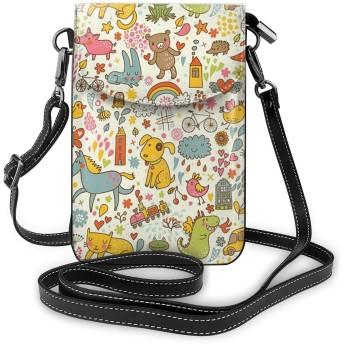 かわいいカラフルな犬猫猫動物 熱い人気 女性の十代の女の子のための取り外し可能なストラップ付きの軽量小型携帯電話の財布 One Size