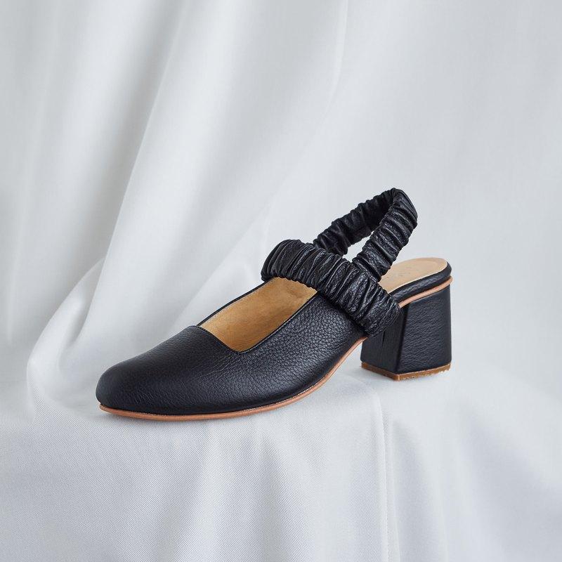 BLACK - PEONY Slingback Heels