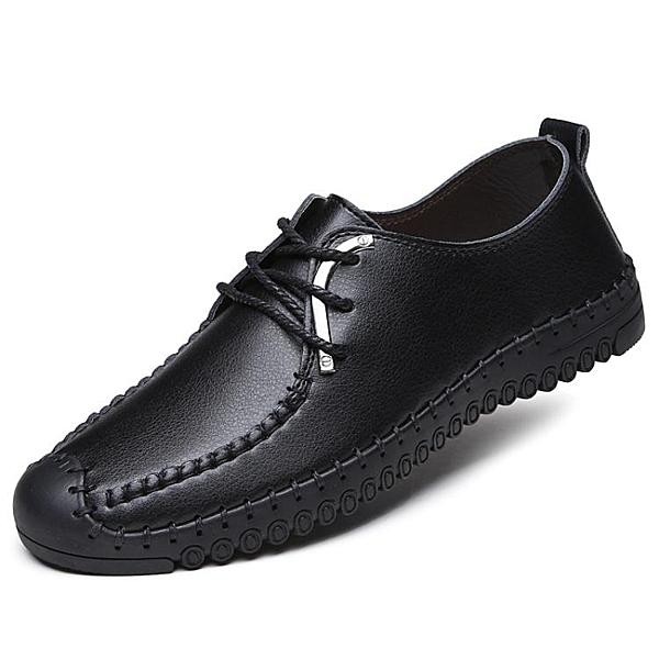 快速出貨 男士平底棕色皮鞋工作舒適休閒鞋子軟底軟皮青年正韓手工防滑男鞋