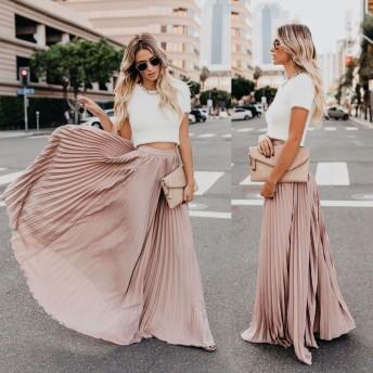 ハイウェスト 無地 プリーツスカート レディース Aラインスカート フレア ロング マキシスカート ゆったり 体型カバー 大人 上品 30代 40代 6色