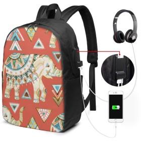 インド象 リュック バックパックリュックサック USB充電ポート付き イヤホン穴付き 大容量 PCバッグ レジャーバッグ 旅行カバン 登山リュック ビジネスリュック ユニセックス おしゃれ 人気