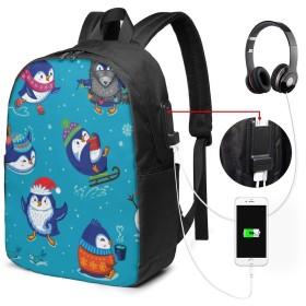 スケートペンギン リュック ビジネスリュック パソコンリュッ バックパック リュックサック 防水 撥水加工 大容量 メンズ レディース バッグ リュック USB ポート搭載 多機能 通勤 通学 旅行 出張 人気 耐衝撃 おしゃれ 軽量