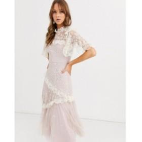 ニードル アンド スレッド Needle and Thread レディース ワンピース ミドル丈 high neck embroidered lace midi dress in blush ベビー