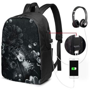 バックパック リュックサック 黒と白のバラ Usb充電ポート付き 17インチ ノートパソコンバックパック 軽量 超大容量 多機能 耐衝撃 ビジネス カジュアル リュック 通勤 通学 旅行 アウトドア メンズ レディース