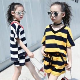 韓国子供服 セットアップ ボーダー柄 半袖 女の子 2点セット 子供 トップス+ショートパンツ ベビー