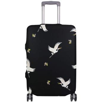 GORIRA スーツケース ラゲッジカバー 和柄 鶴 伸縮素材 キズから保護 防塵 紛失防止 着脱簡単 おしゃれ 可愛い 収納便利 撥水加工 トランクカバー キャリーカバー 旅行 海外