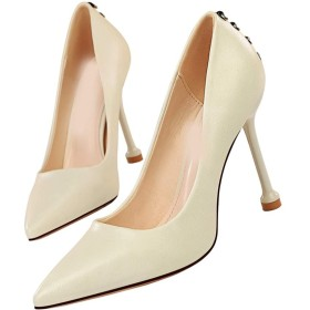 [ZJHZ] ミドルヒール パンプス 痛くない シンプル ピンヒール ホワイト パンプス 結婚式 パンプス レディース 歩きやすい 疲れない ハイヒール バックル 靴 23.5cm 女性 大人 痛くない 大きいサイズ 履きやすい パーティー