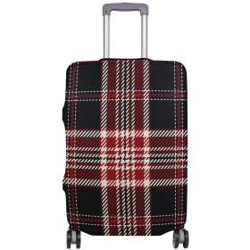 GORIRA スーツケース ラゲッジカバー チェック柄 シンプル 伸缩素材 キズから保護 防塵 紛失防止 着脱簡単 おしゃれ 可愛い 収納便利 撥水加工 トランクカバー キャリーカバー 旅行 海外 Mサイズ 26~28in