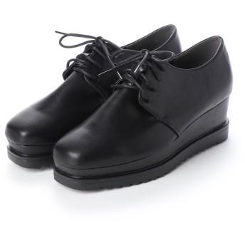 SFW ラブハンター LOVEHUNTER 高めのヒールで美脚効果抜群の'おじ靴'厚底スクエアマニッシュシューズ/1510 (ブラックピーユー)