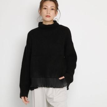 エージー バイ アクアガール AG by aquagirl タートルネック裾プリーツニット (ブラック)