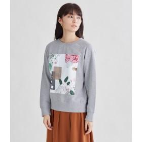 SIPULI 甘撚り裏毛プリントスウェットプルオーバー(グレー) Tシャツ・カットソー,ライトグレー(02)