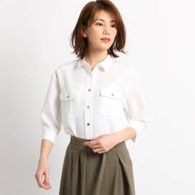 クードシャンス COUP DE CHANCE 【洗える】サファリ2WAYシャツ (ホワイト)