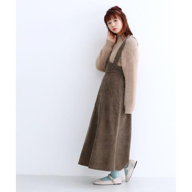 メルロー merlot 2wayコーデュロイアシメジャンパースカート (ブラウン)